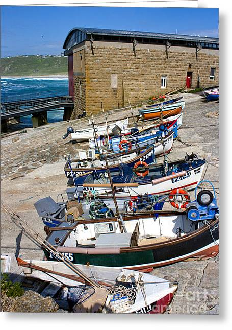 Sennen Cove Greeting Cards - Sennen Cove Fishing Fleet Greeting Card by Terri  Waters