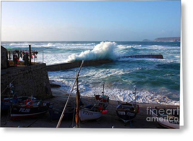 Cape Cornwall Greeting Cards - Sennen cove Harbour Cornwall Greeting Card by Terri  Waters