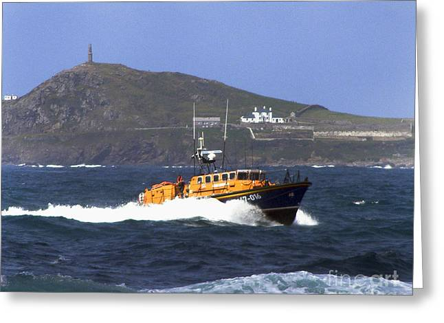 Cape Cornwall Greeting Cards - Sennen Cove Lifeboat Greeting Card by Terri  Waters
