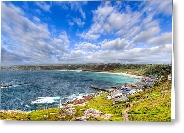 Sennen Cove Greeting Cards - Sennen Cove Panorama - Cornwall Greeting Card by Mark Tisdale
