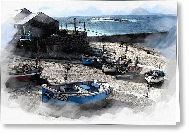 Sennen Greeting Cards - Sennen Harbour Greeting Card by Roger Lighterness