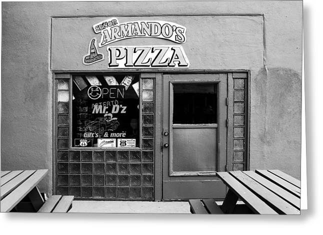 Pizza Joints Greeting Cards - Senor Armandos Pizza Greeting Card by Ron Regalado