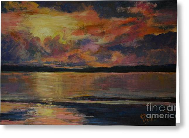 Sensational Paintings Greeting Cards - Sensational Sunset Greeting Card by B Rossitto