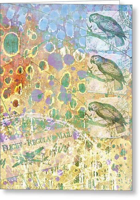 Parrot Digital Art Greeting Cards - Sense of Direction Greeting Card by Carol Leigh