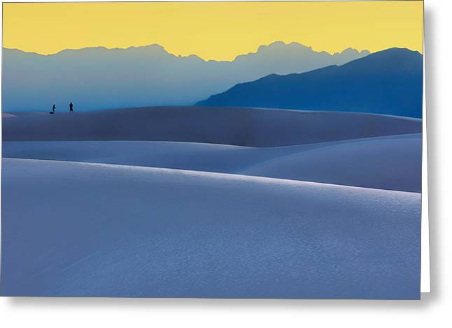 Sense Of Scale - White Sands - Sunset Greeting Card by Nikolyn McDonald