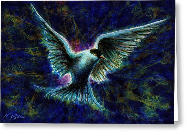 Tern Mixed Media Greeting Cards - Sensing Breakthrough Greeting Card by Art By Miko