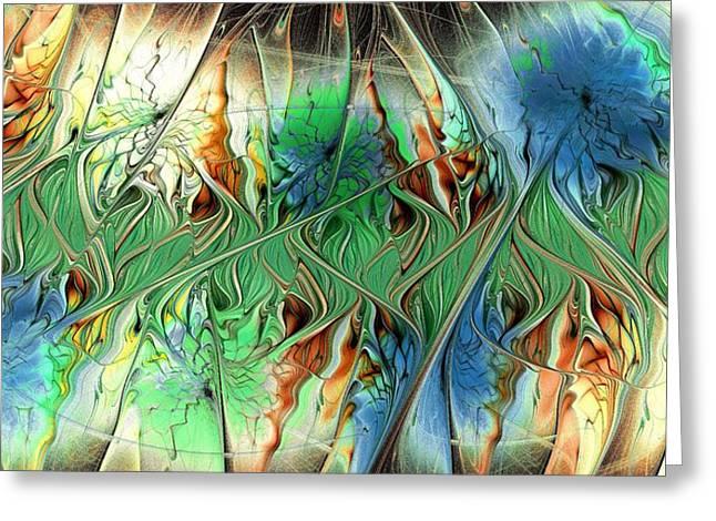 Blue Green Wave Mixed Media Greeting Cards - Sensory Threshold Greeting Card by Anastasiya Malakhova