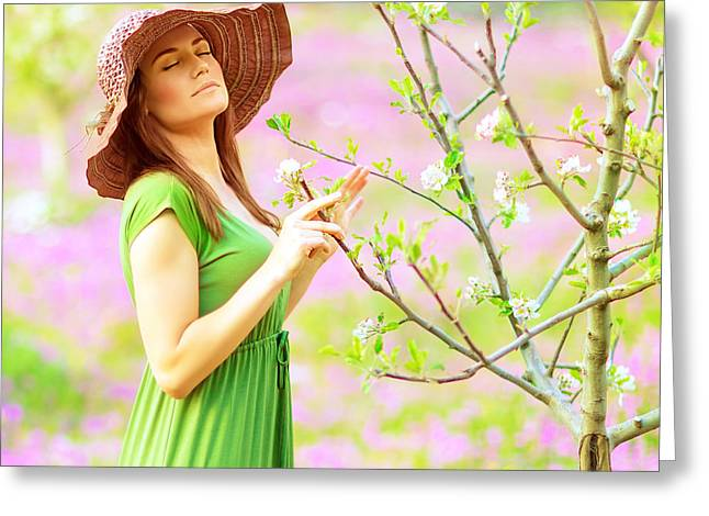 Green Flower Hat Greeting Cards - Sensual forest nymph Greeting Card by Anna Omelchenko