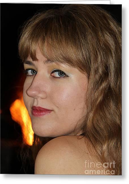 Flowing Blonde Hair Greeting Cards - Sensual Magic Greeting Card by Mariola Bitner