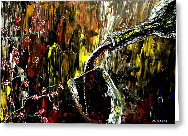 Wine Pouring Paintings Greeting Cards - Sensual Moments Greeting Card by Mark Moore