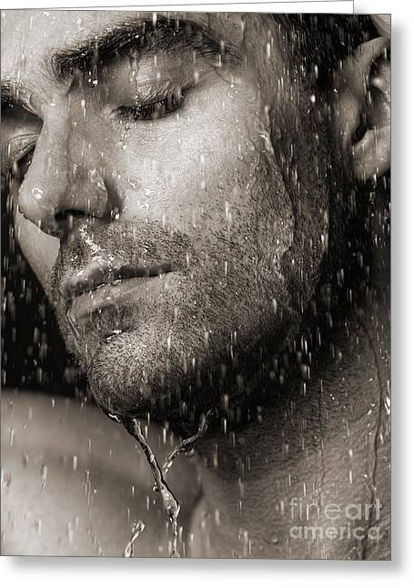 Shower Head Greeting Cards - Sensual portrait of man face under pouring water Black and white Greeting Card by Oleksiy Maksymenko