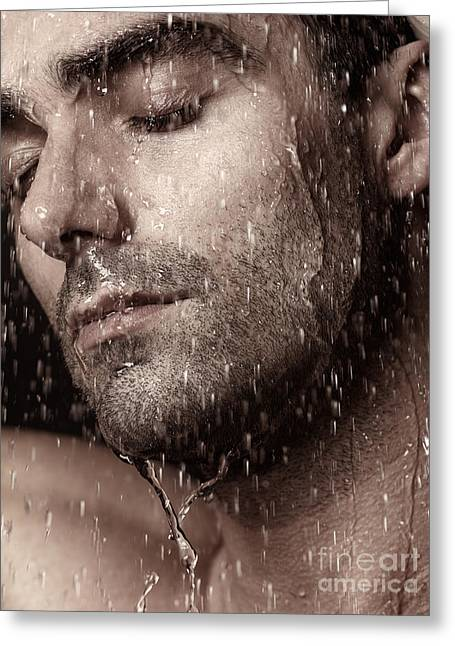 Shower Head Photographs Greeting Cards - Sensual portrait of man face under pouring water Greeting Card by Oleksiy Maksymenko