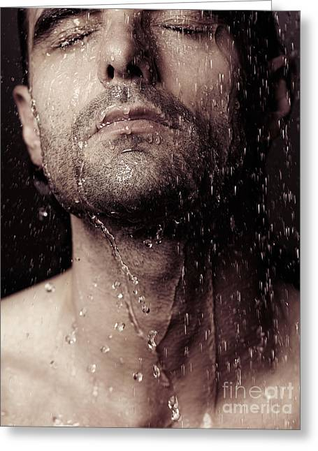 Shower Head Greeting Cards - Sensual portrait of man face under shower Greeting Card by Oleksiy Maksymenko
