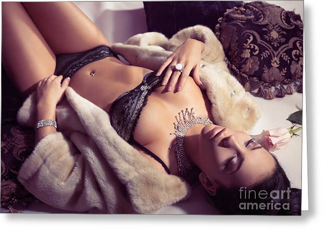 Jewellery Greeting Cards - Sensual portrait of young woman in lingerie Greeting Card by Oleksiy Maksymenko