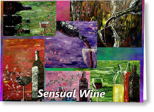 Pallet Knife Greeting Cards - Sensual Wine Collage Greeting Card by Mark Moore