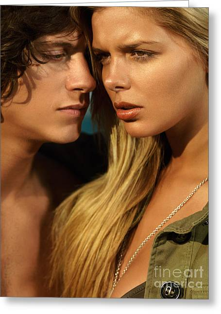 Concern Greeting Cards - Sensual young couple faces Greeting Card by Oleksiy Maksymenko