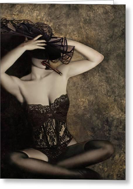 Cigar Greeting Cards - Sensuality in Sepia - Self Portrait Greeting Card by Jaeda DeWalt