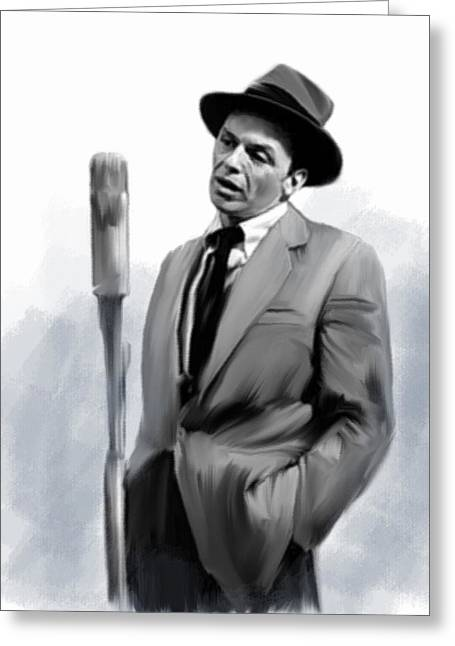 The Voice Greeting Cards - Sentimental Bliss Frank Sinatra  Greeting Card by Iconic Images Art Gallery David Pucciarelli
