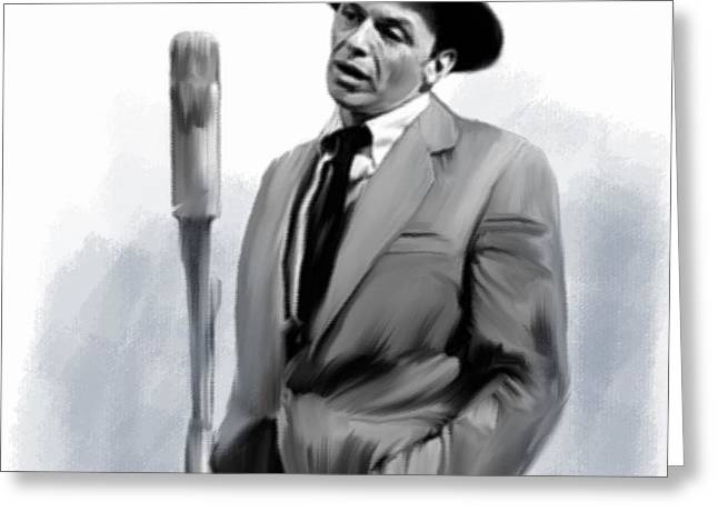 Main Street Drawings Greeting Cards - Sentimental Bliss III Frank Sinatra  Greeting Card by Iconic Images Art Gallery David Pucciarelli