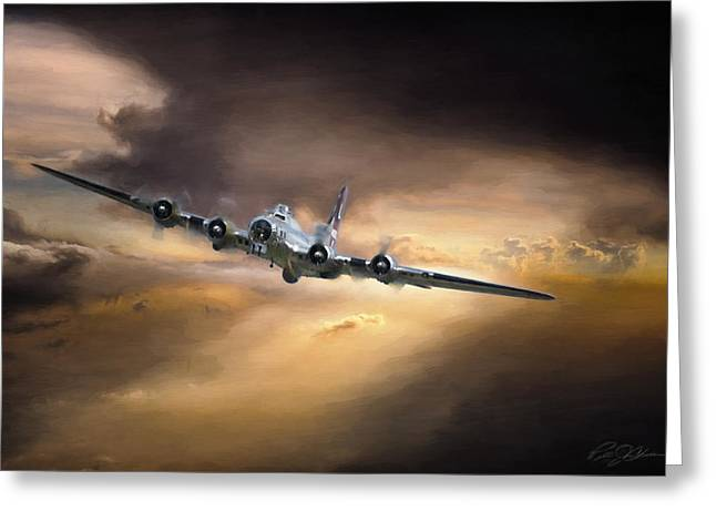 Yankees World Greeting Cards - Sunset Climb B-17 Greeting Card by Peter Chilelli