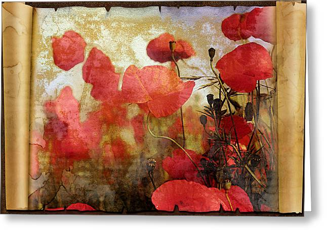 Art Book Greeting Cards - Sentimental Poppy Scroll Greeting Card by Georgiana Romanovna