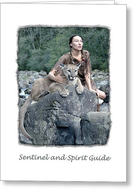 Native American Nude Woman Greeting Cards - Sentinel and Spirit Guide Greeting Card by Ken Evans