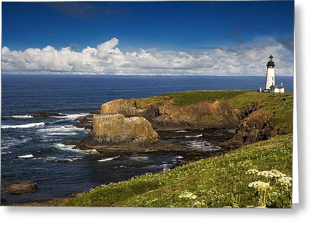 Coastal Lighthouses Greeting Cards - Sentinel on the Rocks Greeting Card by Andrew Soundarajan