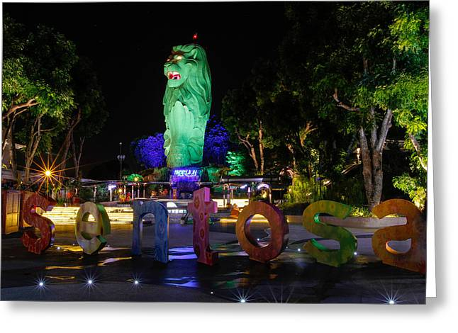 Donald Chen Greeting Cards - Sentosa Merlion Greeting Card by Donald Chen