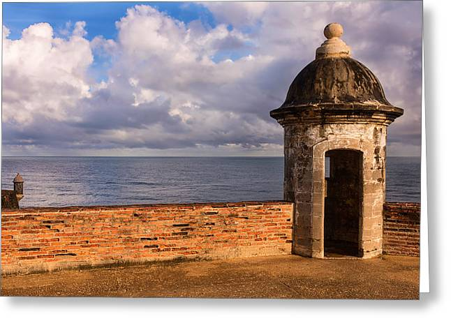 Puerto Rico Greeting Cards - Sentry Boxes in Old San Juans Fort San Cristobal.  Greeting Card by Carter Jones