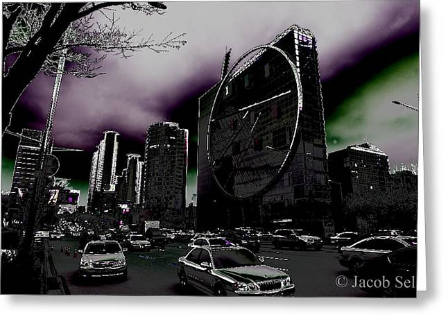 In-city Pyrography Greeting Cards - Seoul After the Bomb Greeting Card by Jacob Sela