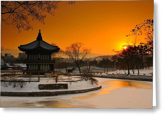 Silhouettes Greeting Cards - Seoul Palace Sunset Greeting Card by Aaron S Bedell