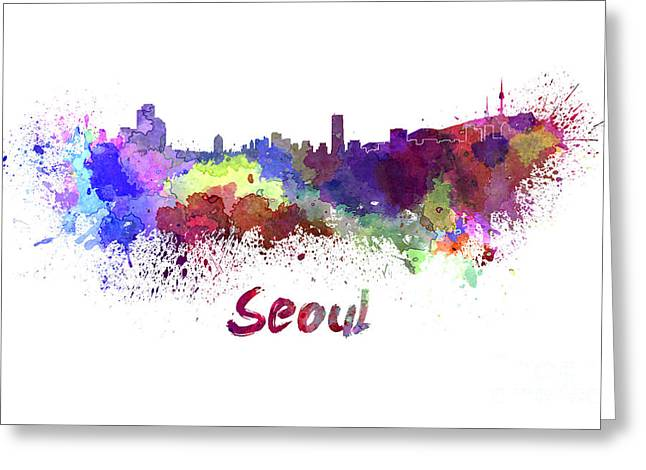 Seoul Greeting Cards - Seoul skyline in watercolor Greeting Card by Pablo Romero