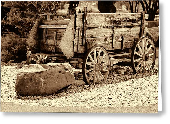 Wooden Wagons Greeting Cards - Sepia Antique Wagon from Austin TX. Greeting Card by Linda Phelps