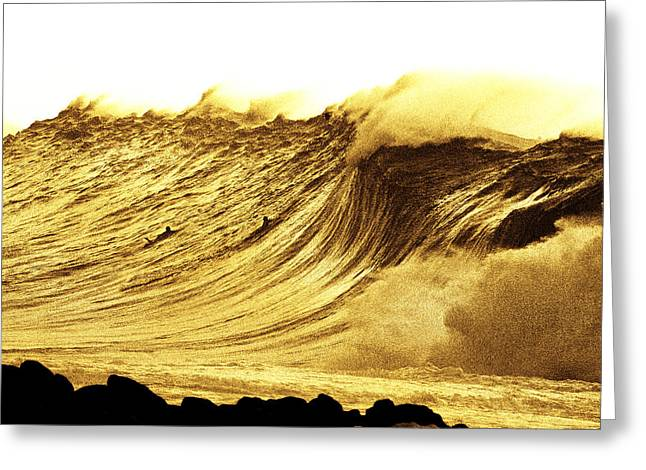 Surf Art Greeting Cards - Sepia Curve Greeting Card by Sean Davey