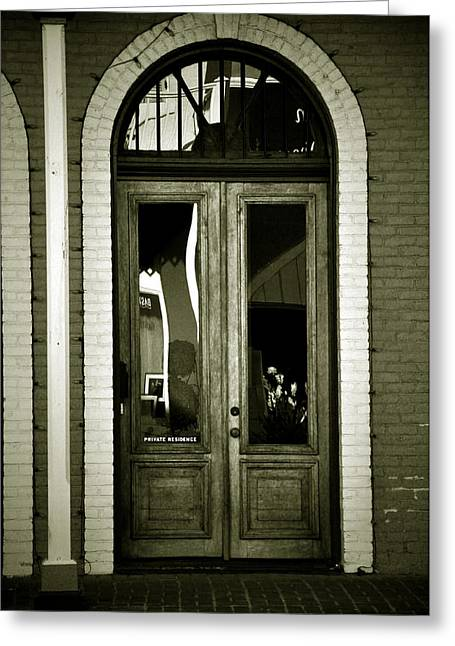 Sepia Door Greeting Card by Cherie Haines