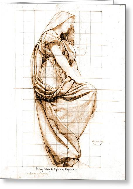 Sepia Drapery Study 1896 Greeting Card by Padre Art