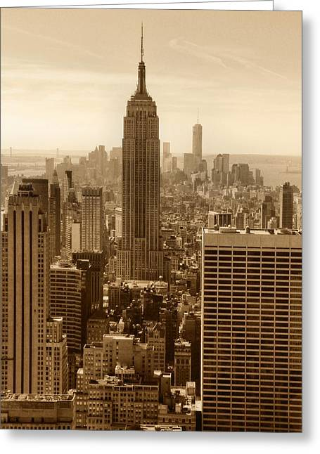 New Mind Greeting Cards - Sepia Empire State Building New York City Greeting Card by Dan Sproul