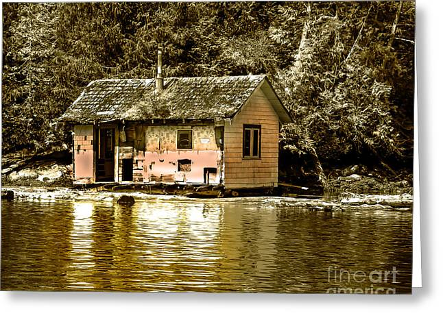 Canada Photograph Greeting Cards - Sepia Floating House Greeting Card by Robert Bales
