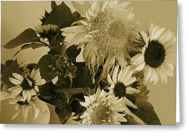 Subtle Colors Greeting Cards - Sepia Garden Sunflower Bouquet Greeting Card by Mary Wolf