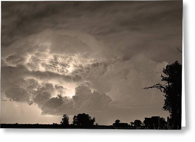 Storm Prints Greeting Cards - Sepia Light Show Greeting Card by James BO  Insogna