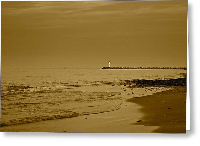 Sepia Lighthouse Greeting Card by Frozen in Time Fine Art Photography