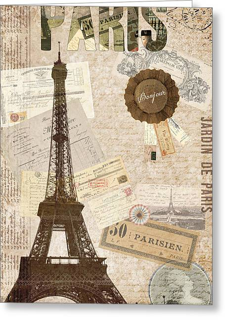 Commercial Photography Paintings Greeting Cards - Sepia Paris Greeting Card by Sandy Lloyd