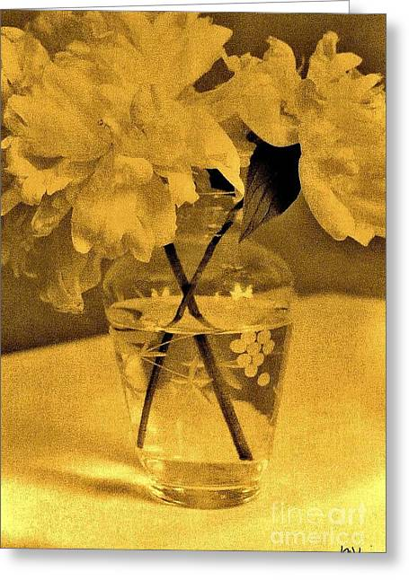Glass Vase Greeting Cards - Sepia Peonies in Antique Greeting Card by Marsha Heiken