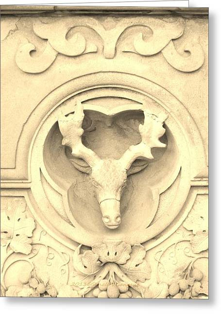 Sepia Reindeer Greeting Card by Sonali Gangane