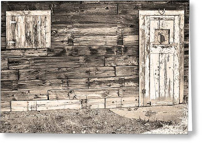Recently Sold -  - Mining Photos Greeting Cards - Sepia Rustic Old Colorado Barn Door and Window Greeting Card by James BO  Insogna
