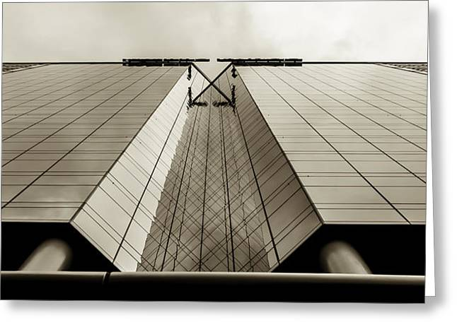 Boardroom Greeting Cards - Sepia Skyscraper Series - Long View Greeting Card by Steven Milner