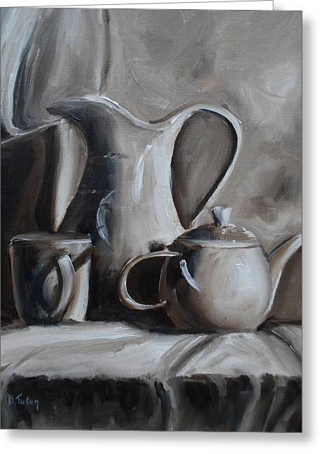 Pottery Pitcher Paintings Greeting Cards - Sepia Still Life Greeting Card by Donna Tuten