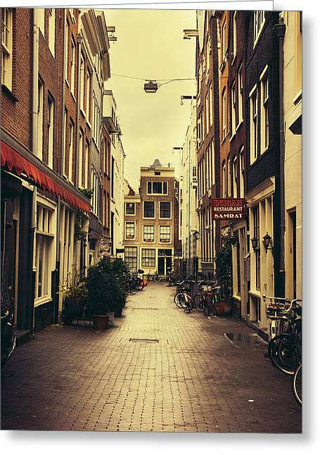Sepia Street In Amsterdam Greeting Card by Pati Photography