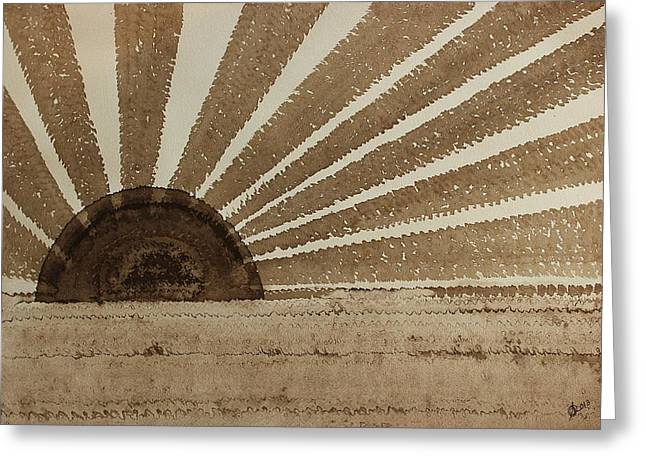 Pen And Paper Greeting Cards - Sepia Sunset original painting Greeting Card by Sol Luckman