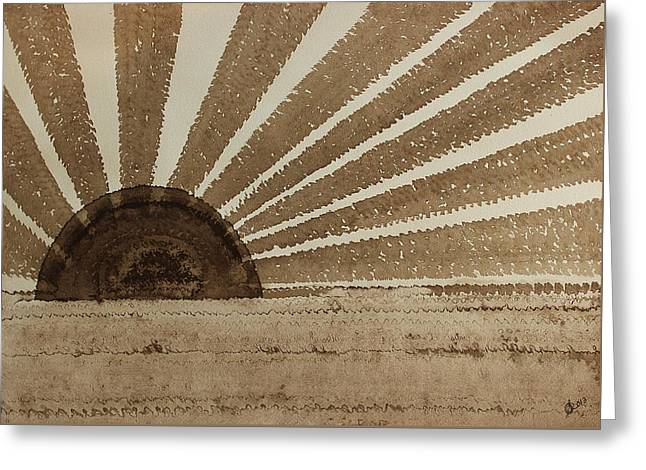 Sepia Sunset Original Painting Greeting Card by Sol Luckman